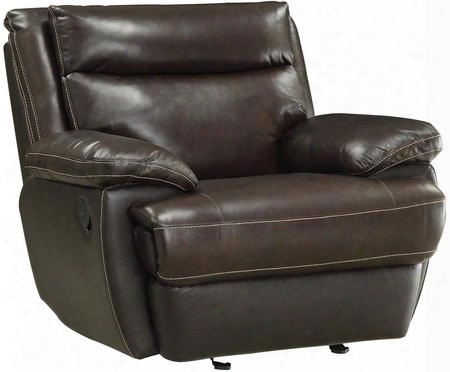 "Macpherson 601813p 44"" Power Recliner With Double Back Cushion Design Wood Frame Contrast Top Stitch And Top Grain Leather Match Upholstery In Cocoa Bean"
