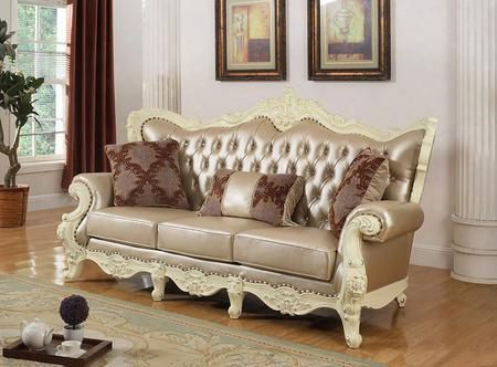 "Madrid 674-s 91"" Sofa With Top Quality Pearl Bonded Leather Upholstery Solid Wood Hand Carved Designs Crystal Tufting And Removable Backs In Rich Pearl"