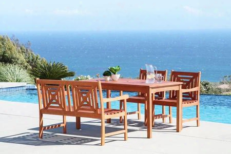 Malibu V98set51 4 Pc Outdoor Dining Set With Rectangle Table 1 Bench 2 Armchairs Water Resistant And Eucalyptus Hardwood Construction In Natural Wood