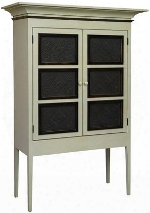 "Margies 4650160ba 49"" Pie Safe With 2 Doors Simple Knobs Tapered Legs And Premium Grade Pine Wood Construction In Buttermilk And Asbury"