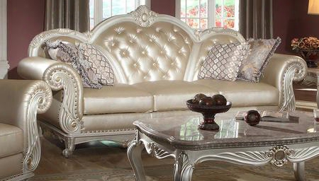 "Marquee Collection 652-s 94"" Sofa With Crystal Tufting French Provincial Hand Crafted Designs And Removable Backs In Pearl"