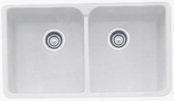 "Mhk720-35mw Manor House Series 35"" Apront Front Double Bowl Fireclay Sink In Matte"