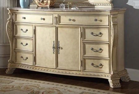 "Monaco Monaco-d 74"" Dresser With Marble Top 8 Drawers 2 Doors Hand Carved And Painted In Rich Antique"