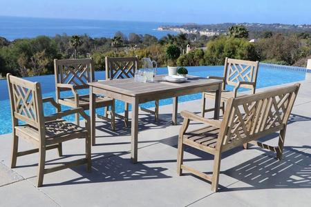 Renaissance V1297set19 6 Pc Outdoor Dining Set With Rectangle Table 4-foot Bench 4 Armchairs Acacia And Hand-scraped Hardwood Materials In Grey