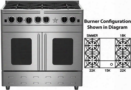"""Rnb364gpmv2 36"""" Precious Metals Series Gas Range With 4 Burners 12"""" Griddle Continuous Cast Iron Grates And Unique French Door Extra Large Convection Oven"""