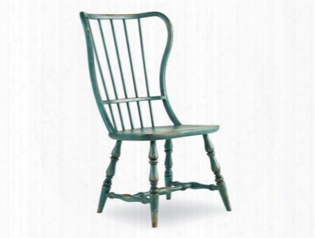 "Sanctuary Series 5405-75310 43"" Casual-style Dining Room Spindle Back Side Chair With Turned Legs Stretchers And Distressed Detailing With Sky High Azure"