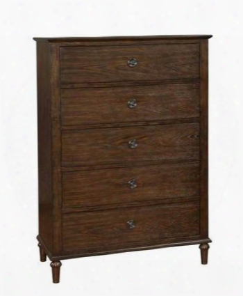 "Saville 203935 40"" Chest With 5 Drawers Decorative Metal Hardware And Turned Legs In Wired Brush Dark Oak"