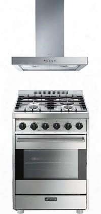 "Smeg Stainless Steel 2-piece Kitchen Package With C24ggxu 24"" Gas Freestanding Range And Ksm24xu 24"" Wall Mount Ventilation"