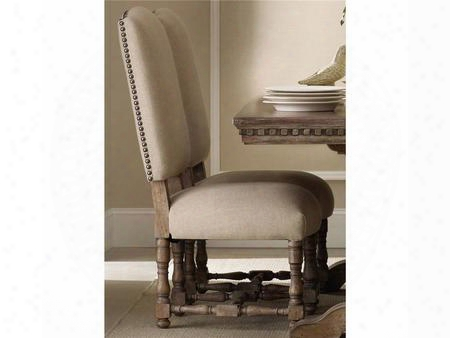 "Sorella Series 5107-75510 46"" Dining Room Upholstered Side Chair With Turned Legs Nail Head Accents And Fabric Upholstery In"