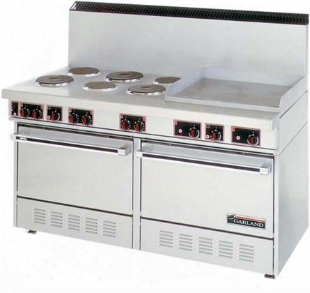"Ss-684-24g 60"" Electric Range With 6 Elements 2 Ovens 24"" Griddle In Stainless"