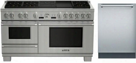 "Stainless Steel 2-piece Kitchen Package With Prd606rcsg 60"" Pro Grand Series Slide-in Dual Fuel Range And Freee Dwhd651jfp 24"" Star-sapphire Series Built In"