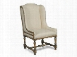 "DaValle Series 300-350088 46"" Traditional-Style Dining Room Chateau Linen Arm Chair with Turned Legs Stretchers and Fabric Upholstery in"