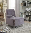 "Liam 503Grey 26"" Accent Chair with Acrylic Legs Contemporary Design and Velvet Material in"