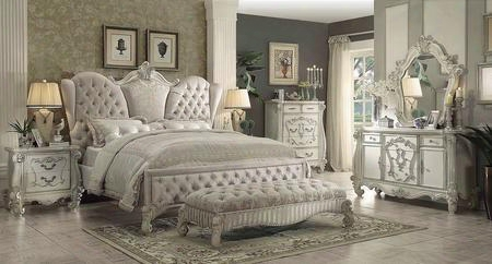 Versailles Collection 21130q6pc Bedroom Set With Queen Size Bed + Dresser + Mirror + Chest + Nightstand + Bench In Bone White