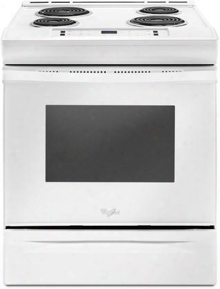 "Wec310s0fw 30"" Electric Range With 4 Coil Elements 4.8 Cu. Ft. Capacity Self Cleaning Frozen Bake Technology And Storage Drawer In"