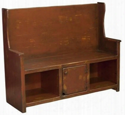 "Ye Olde 465236c 50"" Bech With 1 Door 2 Open Cubbies Hole High Back And Premium Grade Pine Wood Construction In Distressed Antiqued Cranberry"