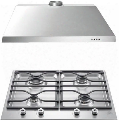 """2-piece Stainless Steel Kitchen Package With Pm24400xlp 24"""" Liquid Propane Cooktop And Ku24pro1x14 24"""" Canopy"""