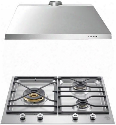 "2-piece Stainless Steel Kitchen Package With Pmb24300xlp 24"" Liquid Propane C Ooktop And Ku24pro1x14 24"" Canopy"
