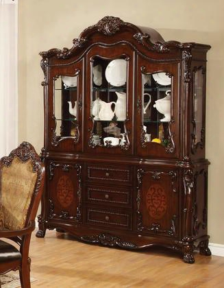 "Benbrook Collection 105514 60.75"" China Cabinet With 5 Doors 3 Drawers Floral Accented Leaves Asian Hardwood Ash Veneers And Resin Material In Dark Cherry"