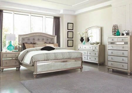 Bling Game 204181kedmcn 5 Pc Bedroom Set With Eastern King Size Bed + Dresser + Mirror + Chest + Nightstand In Metallic Platinum