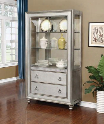"""Bling Game 910185 78.25"""" Curio Cabinet With 3 Shelves 2 Drawers 2 Glass Doors Touch Lighting Decorative Hardware And Turned Legs In Metallic Platinum"""