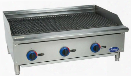 "C36cb-sr Chefmate 36"" Gas Charbroiler With 3 Burners Up To 105 000 Btus Stainless Steel Radiants And Lp Conversion Kit In Stainless"