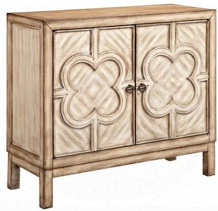 "Capulet 13487 38"" Accent Cabinet With One Fixed Shelf Wire Management And Quatrefoil Design On Door"