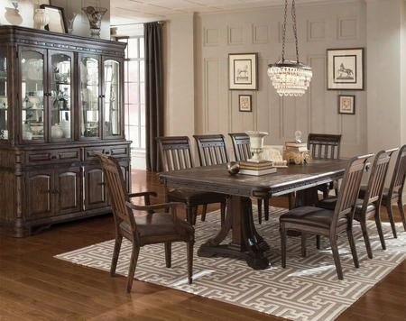 Carlsbad 105731cc 10 Pc Dining Room Set With Dining Table + 6 Side Chairs + 2 Armchairs + China Cabinet In Vintage Espresso