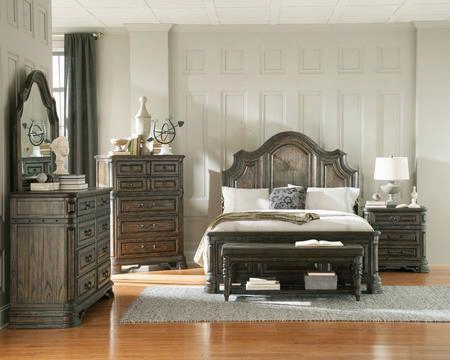 Carlsbad 204041kedmcnb 6 Pc Bedroom Set With Eastern King Size Bed + Dresser + Mirror + Chest + Nightstand + Bench In Vintage Espresso