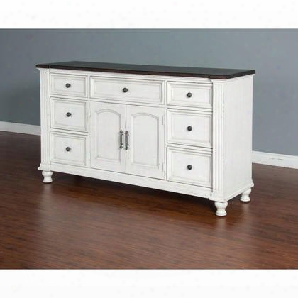 "Carriage House Collection 2308ec-d 68"" Dresser With 7 Drawers 2 Doors And Removable Bun Feet In European Cottage"