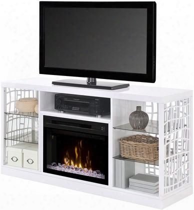 """Charlotte Gds25gd1579w 59"""" Modern Media Console Complete With Pf2325hg 5"""" Glass Ember Bed Firebox Multi-function Remote And Heat Boost In A Gloss White"""