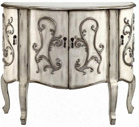 "Coffer 13506 42"" 4-door Cabinet With Wire Management Raised Pewter Finish Scroll Fretwork And Metal Burnished Drop Pull Hardware In Creamy Grey"