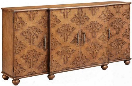 "Corvallis 13193 72"" 4-door Sideboard With 3 Adjustable Shelves Hand Painted And Wire Management In"