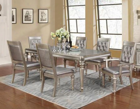 Danette 106471sa 7 Pc Dining Room Set With Dining Table + 4 Side Chairs + 2 Armchairs In Metallic Platinum