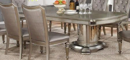 """Danette 107311 80-100"""" Extendable Dining Room Table With Pedestal Base And Molding Detail In Metallic Platinum"""