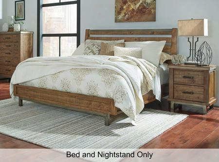 Dondie King Bedroom Set With Sleigh Bed And Single Nightstand In Warm