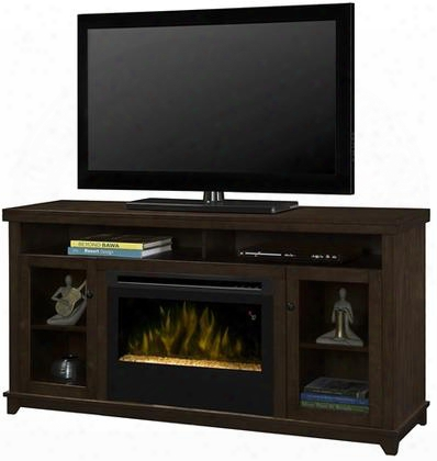 "Dupont Gds25g51491kn 58"" Media Console Complete With Dfr2551g 25"" Glass Ember Bed Firebox On/off Remote Supplemental Heat In A Kingston Brown"