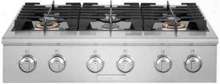"E36gc76prs 36"" Gas Slide-in Cooktop With Dualflame Sealed Burner Continuous Grates And Professio Nal-style Large Knobs In Stainless"
