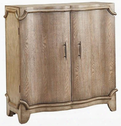"Estancia 13550 40"" 2-door Cabinet With Wine Bottle And Glass Storage Decorative Oversized Trim Outline Top And Bottom In Rubbed Antique Wheat"