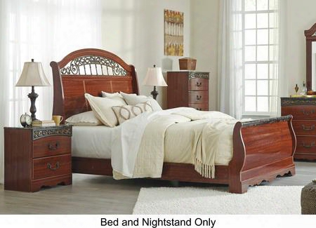 Fairbrooks Estate Queen Bedroom Set With Sleigh Bed And Nightstand In Reddish Brown