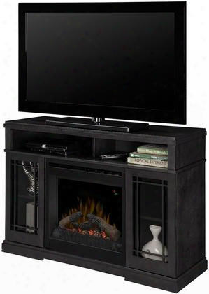 "Farley Dfp20l1424ra 46"" Transitional Media Console Complete With 20"" Log Firebox Supplemental Heat Multi-function Remote And Thermostat Control In A Raven"