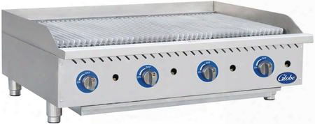 "Gcb48g-rk 48"" Countertop Char Rock Charbroiler With Up To 160 000 Btus U-style Burners And Liquid Propane Conversion Kit In Stainless"