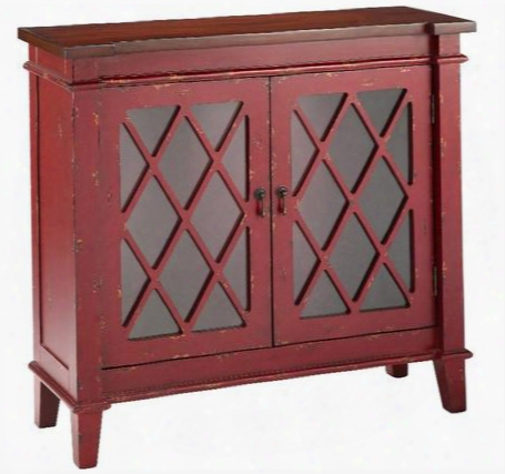 "Goshen 13013 36"" 2-door Cabinet With Glass Shelf Distressed Details And Diamond Pattern Fretwork In"