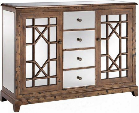 """Green 13266 52"""" 4-drawer 2-door Cabinet With One Adjustable Shelf Hand Painted And Beveled Mirror Drawers In"""