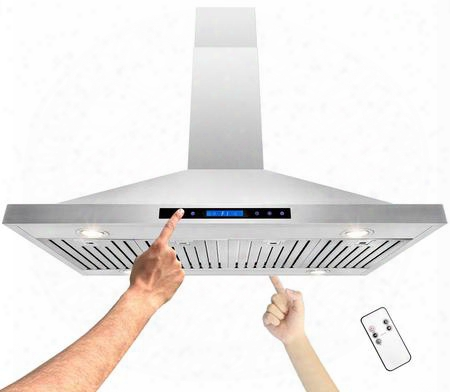 """Gv-r-h-0223 48"""" Island Mount Consort Hood With 400 Cfm Halogen Lighting Stainless Steel Baffle Filters And Touch Panel On Both Sides With Remote In Stainless"""