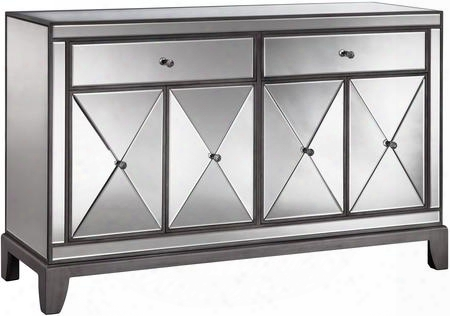 "Hamilton 13263 56"" 4-door 2-drawer Sideboard With Two Removable Shelves Beveled Mirrored Panels And Clear Knob Hardware In"