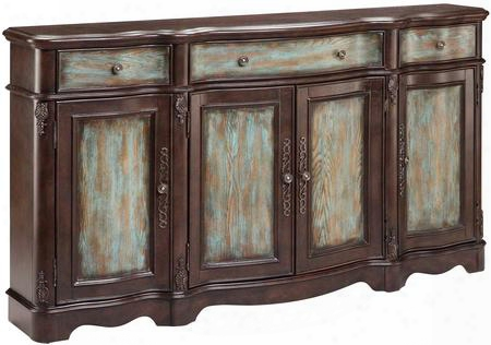 "Laurie 13209 68"" 4-door 3-drawer Credenza With Three Adjustable Shelves Veneered Doors Serpentine Shaped In Dark"