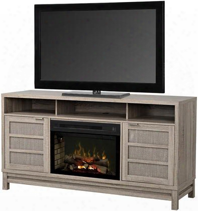 "Layla Gds25gd1662lo 66 "" Transitional Media Console Complete With Pf2325hg 25"" Glass Ember Bed Firebox With Multi-function Remote And Heat Boost In A Limed Oak"
