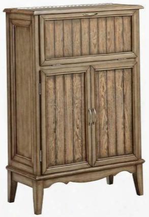 """Macmurray 13551 32"""" 3 Door Wine Cabinet Flip-top Mirror Wine Bottle And Glass Storage With Plank Design Door Panels In Medium"""