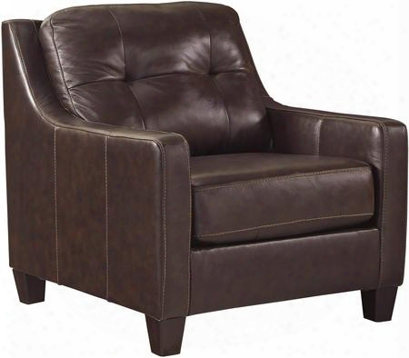 "O'kean 5910520 35"" Chair With Tufted Back Cushion Leather Match Upholstery And Sleek Track Arms In"